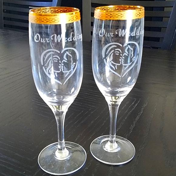 Vintage set of 2 Champagne Glasses